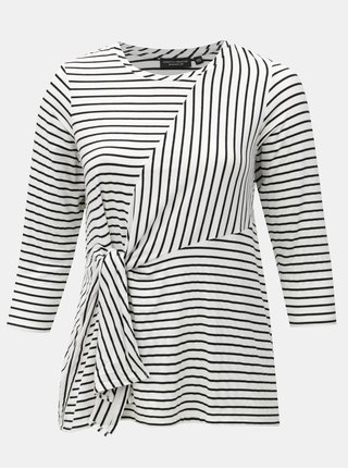 Černo-bílé pruhované tričko se zavazováním v pase Dorothy Perkins Curve