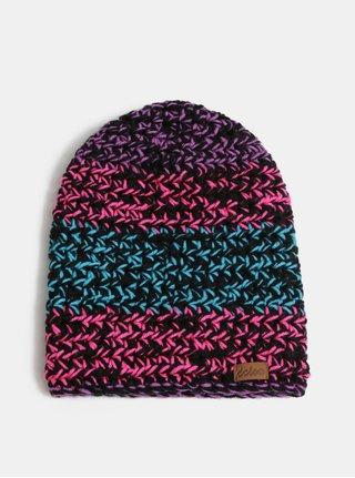 Růžovo-černá zimní pletená čepice DOKE