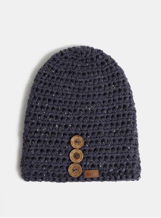 Tmavomodrá mierne melírovaná pletená čiapka DOKE