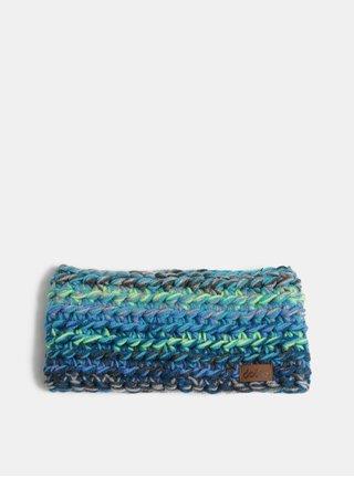 Zeleno–modrá pletená zimná čelenka DOKE