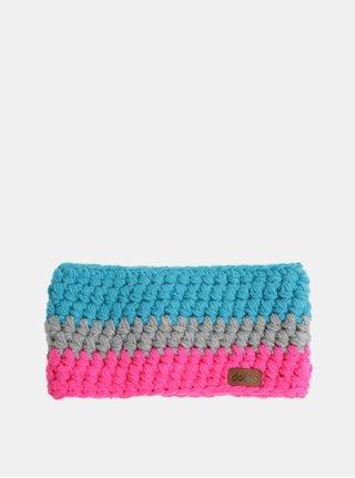 Ružovo–modrá pletená zimná čelenka DOKE