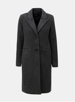 Šedý kabát s příměsí vlny VERO MODA Blaza