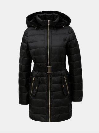 Černý prošívaný kabát s umělým kožíškem VERO MODA Gold