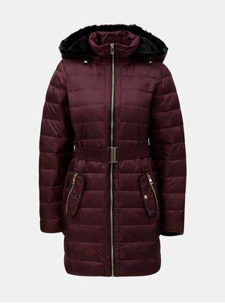 Vínový prošívaný kabát s umělým kožíškem VERO MODA Gold 80fe67e7b10