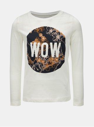 Krémové dievčenské tričko s dlhým rukávom a potlačou Name it Veen