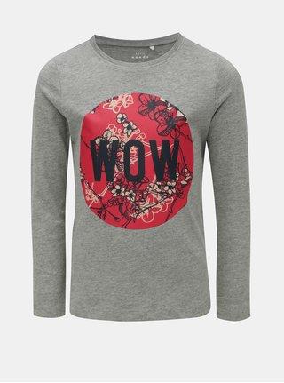 Sivé melírované dievčenské tričko s dlhým rukávom a potlačou Name it Veen