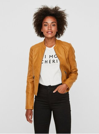 Horčicová koženková bunda VERO MODA Europe