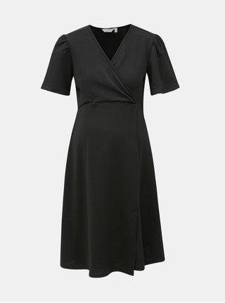 Černé těhotenské šaty s krátkým rukávem a překládaným výstřihem Dorothy Perkins Maternity