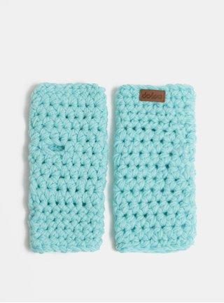 Tyrkysové pletené návleky na ruky DOKE