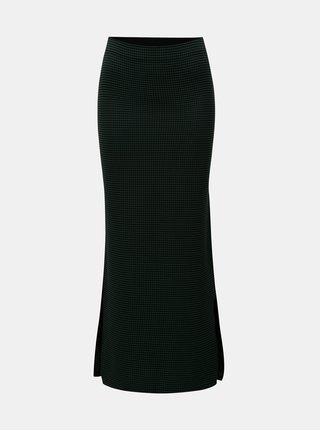 Tmavě zelená kostkovaná maxi sukně s rozparky Dorothy Perkins
