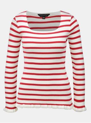 Krémovo-červené žebrované  pruhované tričko Dorothy Perkins