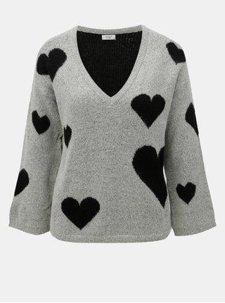 Čierno–sivý vzorovaný sveter s véčkovým výstrihom Jacqueline de Yong Melange