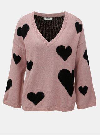 Čierno–ružový vzorovaný sveter s véčkovým výstrihom Jacqueline de Yong Melange
