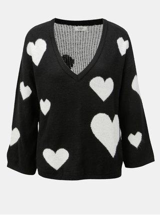 Bílo-černý vzorovaný svetr s véčkovým výstřihem Jacqueline de Yong Melange