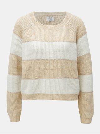 Krémovo–hnedý trblietavý sveter ONLY Malone