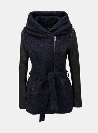 Tmavě modrý žíhaný kabát s příměsí vlny ONLY Lisford