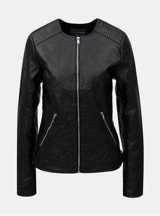 Čierna koženková bunda s detailmi v striebornej farbe Dorothy Perkins Tall
