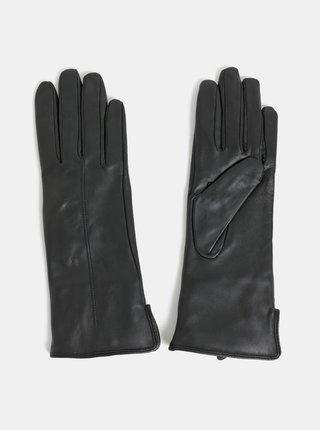 Černé kožené rukavice s umělým kožíškem Selected Femme Rena