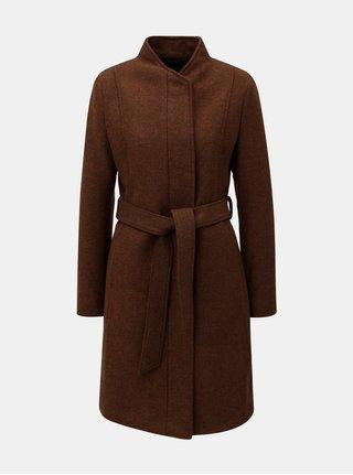 Hnědý vlněný kabát se zavazováním Selected Femme Dea