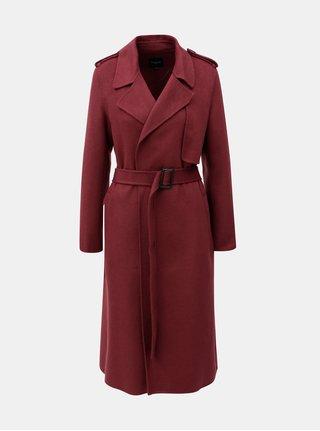 Vínový kožený kabát s opaskom Selected Femme Tana