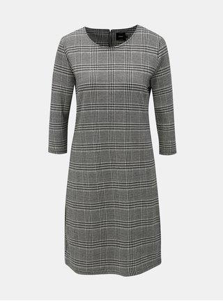 Krémovo–čierne vzorované šaty s 3/4 rukávom ONLY Viga