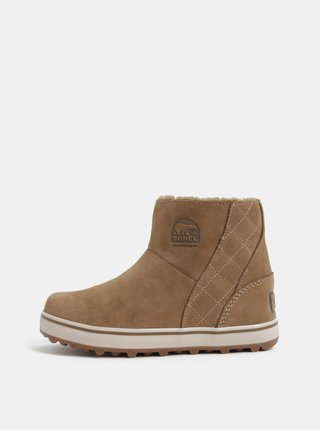 Svetlohnedé dámske semišové zimné nepremokavé topánky SOREL Glacy Short