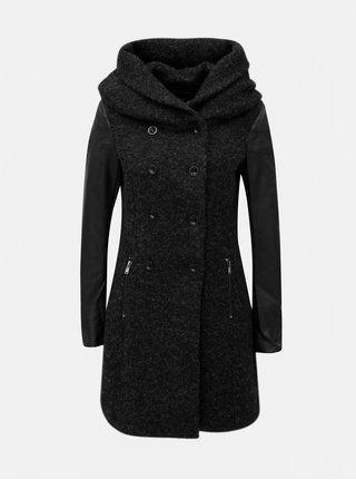 Pardesiu negru melanj cu amestec de lana si cordon ONLY Lisa