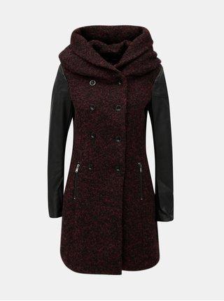 Pardesiu bordo melanj cu amestec de lana si cordon ONLY Lisa