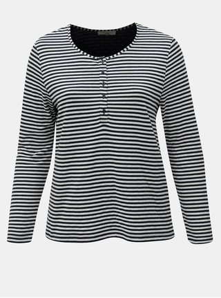 Krémovo–modré pruhované tričko Ulla Popken