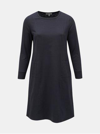 Tmavomodré mikinové šaty Ulla Popken
