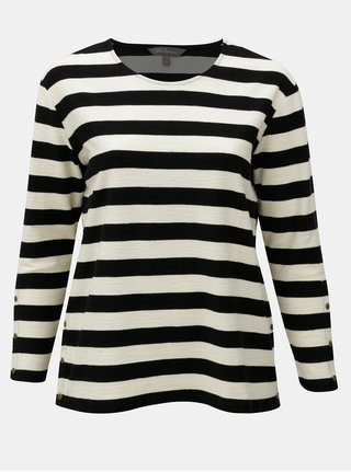 Krémovo–čierna pruhovaná basic mikina Ulla Popken
