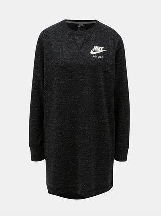 Tmavě šedé žíhané mikinové šaty s dlouhým rukávem a potiskem Nike