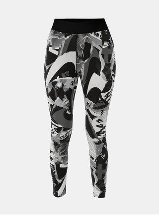 Bielo–čierne dámske vzorované skrátené legíny s vysokým pásom Nike Newsprint