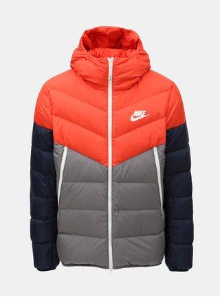 Sivo–červená pánska páperová bunda Nike Fill