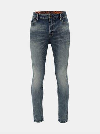 Modré pánské skinny džíny  s vyšisovaným efektem Superdry
