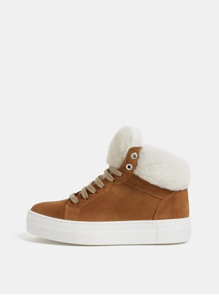 Světle hnědé semišové kotníkové zimní boty s umělým kožíškem OJJU