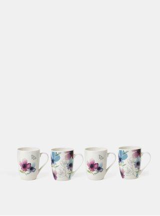 Set de patru cani de culoare alba cu model floral Cooksmart