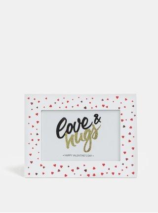 Bílý dřevěný fotorámeček s motivem malých srdíček Kaemingk Love&Hugs