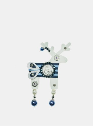 Bílá velká brož s komponenty Swarovski Crystals Deers