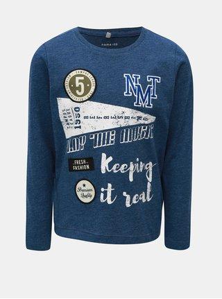 Modré melírované tričko s dlhým rukávom a nášivkami Name it Modion