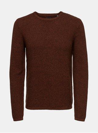 Hnědý žíhaný svetr ONLY & SONS Dan 7