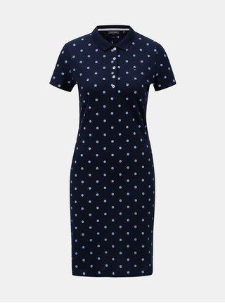 Modré vzorované košilové slim fit šaty Tommy Hilfiger