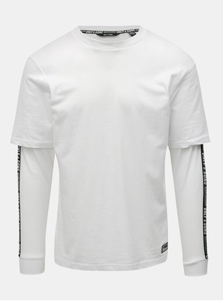 Tricou alb cu dungi pe maneci ONLY & SONS Feivel