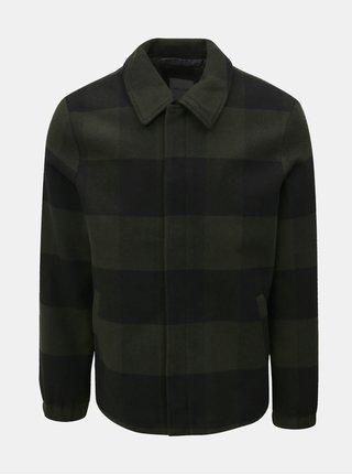 Jacheta lejera negru–verde in carouri cu amestec de lana ONLY & SONS Shawn