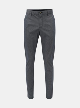 Modré pánske vzorované straight fit chino nohavice Tommy Hilfiger