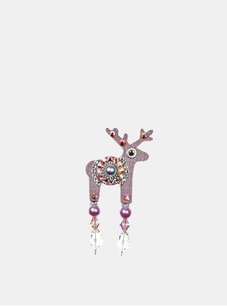Fialová malá brož se středovým zdobením Preciosa Components Deers