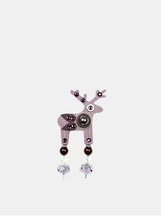 Fialová malá brož s broušeným zdobením Preciosa Components Deers