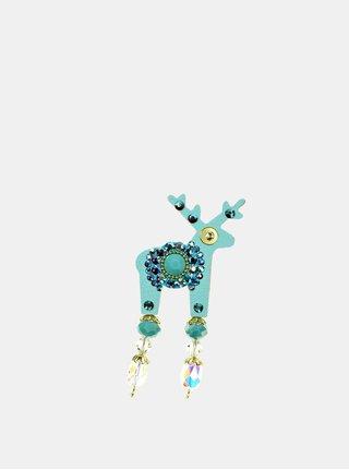 Tyrkysová malá brošňa so stredovým zdobením Preciosa Components Deers