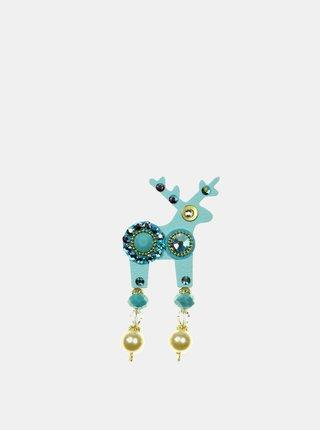 Tyrkysová malá brož se zdobením Preciosa Components Deers