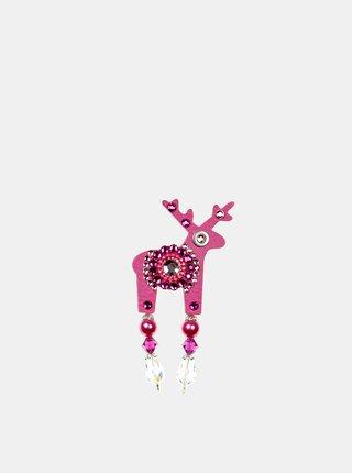 Ružová malá brošňa so stredovým zdobením Preciosa Components Deers